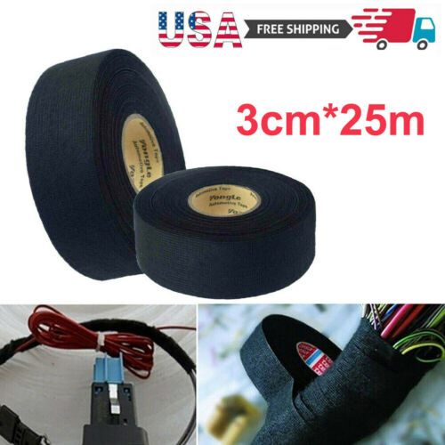 USA 25M Car Adhesive Cloth Fabric Electrical Wiring Harness Loom Insulation Tape Adhesives & Tape