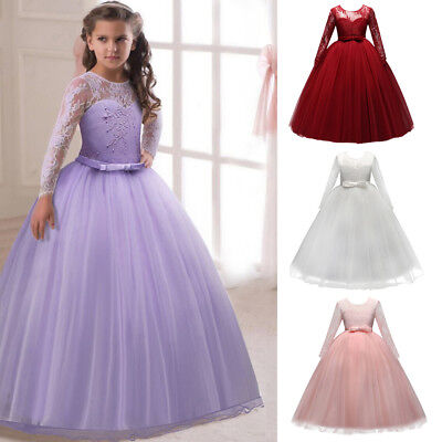 Girls Dresses With Sleeves (Flower Girl Dresses Long Sleeves Lace Ball Gown For Kid Weddings First)