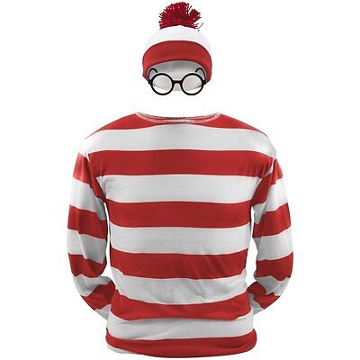 Waldo Hat And Glasses (Striped Red and White Mixed Cosplay Costume Sweatshirt Hat Glasses Wally)