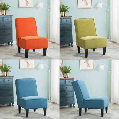 Upholstered Armless Accent Chairs Living Room Sofa Chair Dinning Chairs Wood Leg