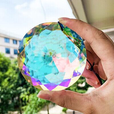 75MM AB Aurora Feng Shui Faceted Round Prism Crystal Suncatcher Glass Chandelier