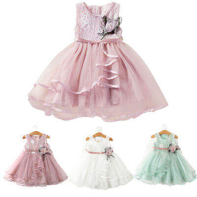 US Newborn Tulle Christening Baby Princess Girls Dress Party Wedding Kid Clothes