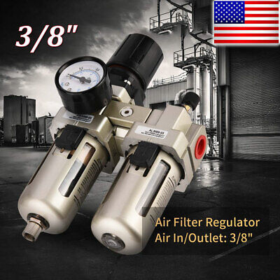 38 Air Compressor Filter Oil Water Separator Trap Tool With Regulator Gauge