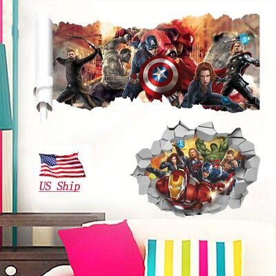 Avengers Wall Sticker 3D Iron Man Captain America Kids Bedroom Decoration Gift ()