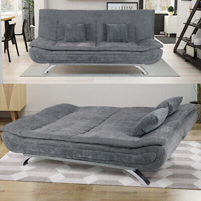 Upholstered 3 Seater Sofa Bed Recliner Couch Sleeper Sofabed Relax Settee Grey