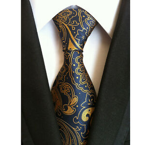 Mens Business Silk Classic jacquard Woven Blue Gold Striped Wedding Tie Necktie