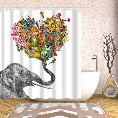 Heart Shower Curtain (Bathroom Shower Curtain Elephant Heart-shaped Floral Design Curtains + 12)