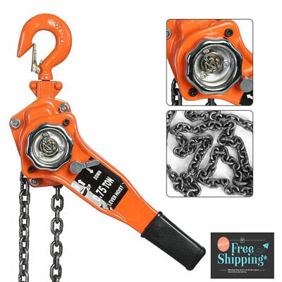 0.75 Ton 3m Ratcheting Lever Block Chain Hoist Come W Puller Pulley Heavy Duty