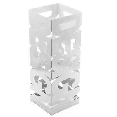 Portaombrelli Ferro Design BAKAJI9W Quadrato Stand Bianco Vaschetta Salvagoccia