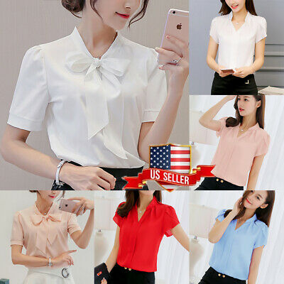 US Womens V-neck Short Sleeve Casual OL Bow Tie Shirt Ladies Chiffon Tops Blouse](Chiffon Bows)