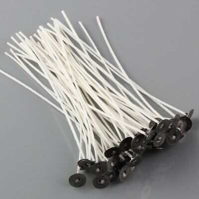 50pcs Candle Wicks 6 Inch COTTON Core Candle Making Supplies Pretabbed