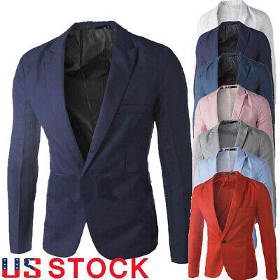 US Men's Formal Business One Button Blazer Fashion Slim Fit Suit Jacket Coat Top