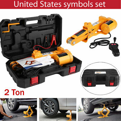 12V 2 Ton Automotive Electric Scissor Car Jack Lifting Impact Wrench Tool US
