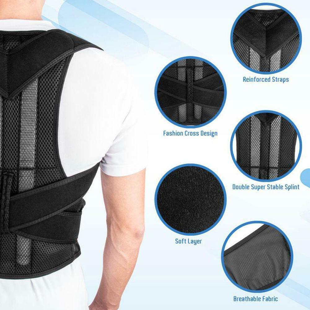 For Men Women Adjustable Low Back Support Shoulder Brace Pos