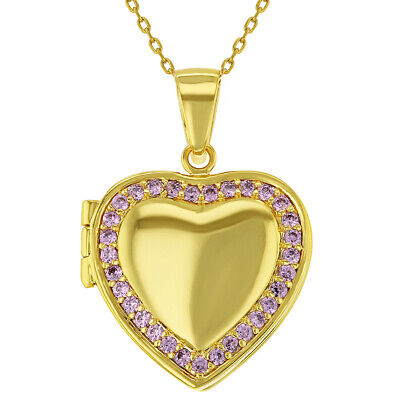 18k Gold Plated Pink Crystal Heart Shaped Photo Locket Pendant Necklace -