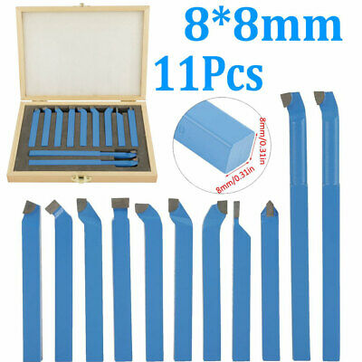 11 Pcs Carbide Tip Tipped Cutter Tool Bit Cutting Set Metal Lathe Tooling 88mm