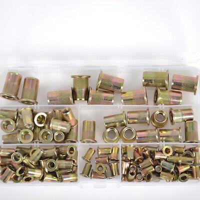 Rivet Nut Kit 120pcs Zinc Plated Carbon Steel Rivnut Threaded Insert Nutsert Set