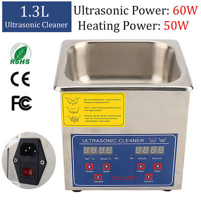 1.3l Digital Ultrasonic Cleaner Cleaning Bath Jewelry Eyeglasses Dental Parts