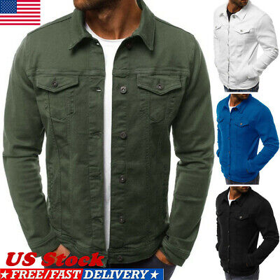 USA Men's Casual Slim Fit Classic Retro Thicken Coat Jean Denim Jacket Outerwear
