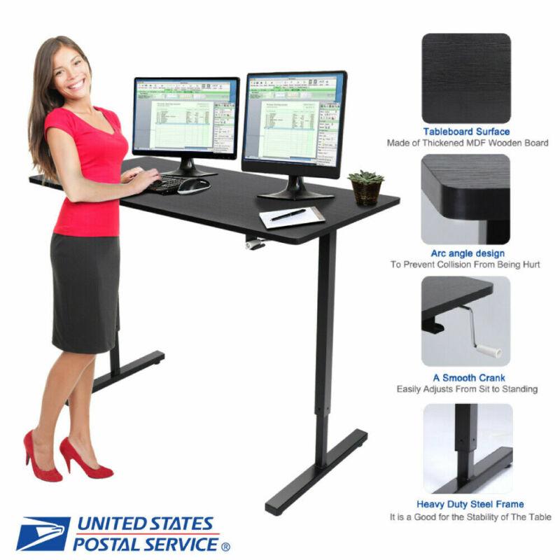 Workstation Adjustable Height Laptop Stand Up Desk Computer Lift Rising Desktop