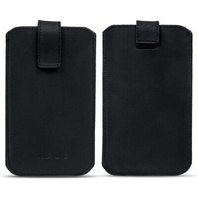 Leder Smartphone (Universal Handy Leder Hülle 4.0 - 6.4 Zoll Schutz Smartphone Tasche Case Schwarz)