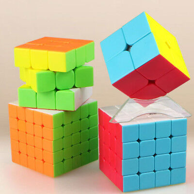 Kid Brain Teasers (Qiyi 2x2 3x3 4x4 5x5 Magic Cube Stickerless Cube Speed Twist Brain Teasers)