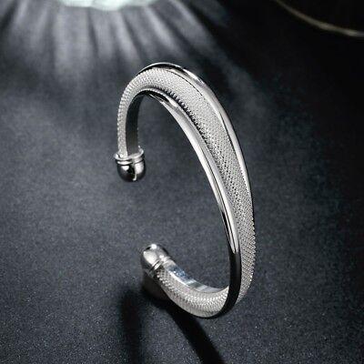 US Silver Cuff Bracelet Bangle Chain Wristband Women Jewelry