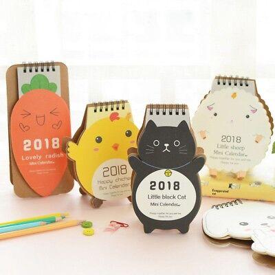2018 Cartoon Animal Cute Desk Desktop Calendar Flip Stand Table Office Planner