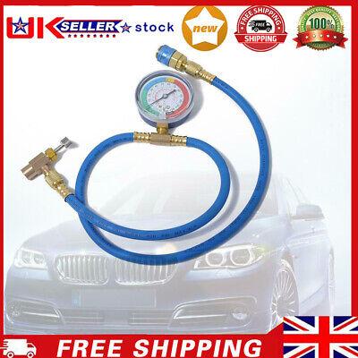 Car AC Air Conditioning R134A Refrigerant Recharge Hose w/ Pressure Gauge -UK