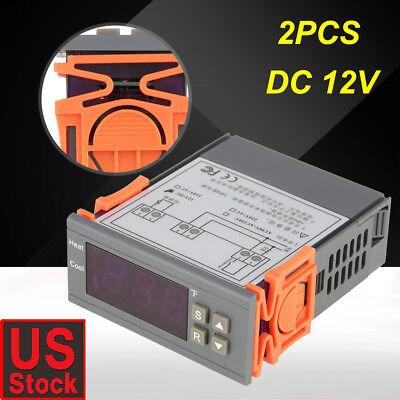 2pcs 12v Fahrenheit Temperature Controller Ac 220v Thermostat Control -58248