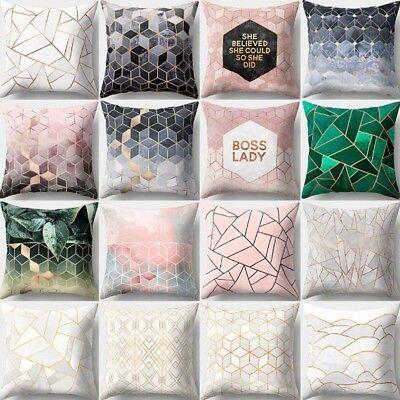 Green Pink Geometric Cotton Linen Cushion Cover Home Decor Throw Pillow Case ()