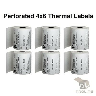 20 Rolls Direct Thermal Perforated Labels 250/Roll 4x6 Zebra 2844 ZP450 Eltron