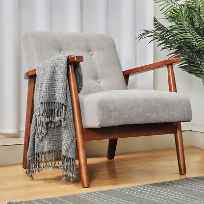 Vintage Solid Wood Fabric Armchair / Loveseat Tub Accent Chair Bedroom Furniture