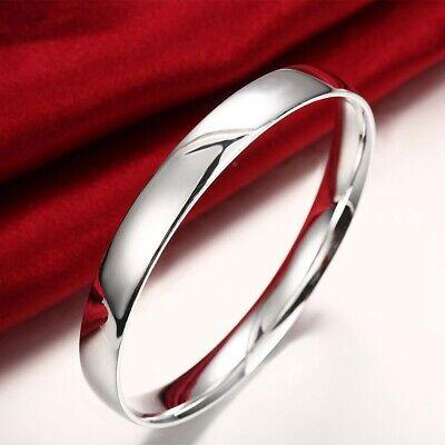 Womens 925 Sterling Silver Smooth Round Bangle Fashion Bracelet #B491