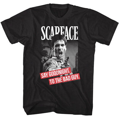 (Scarface Men's T-shirt Montana Say Goodnight to the Bad Guy Pacino Gangster)