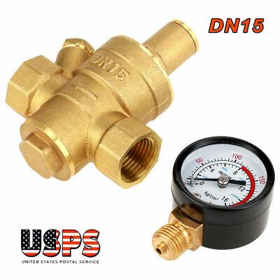 Dn15 12 Brass Water Pressure Reducing Regulator Valve Reducer W Gauge Meter