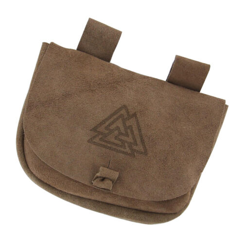 Medieval Unisex Suede Leather Small Pouch Valknut Belt Bag