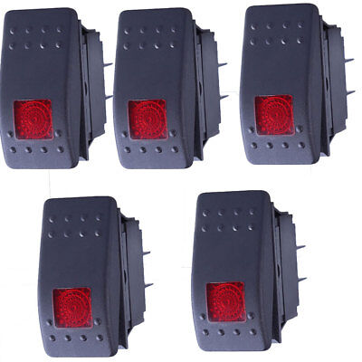 5pcs Waterproof Marine Boat Car Rocker Switch 12v Spst Onoff 4pin Red Led New