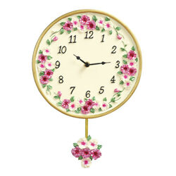 Morning Glory Floral Pendulum Clock, Pink, by Collections Etc