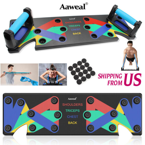 9in1 Push Up Rack Board Exercise Stands System Fitness Workout Train Gym Handles