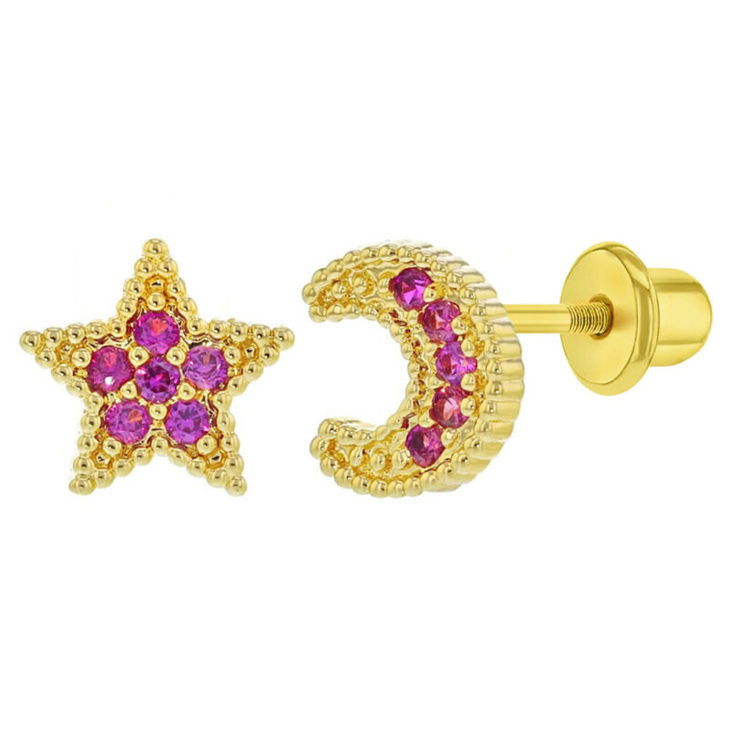 Gold Plated Moon and Star Pink CZ Screw Back Earrings for Kids & Toddler Girls