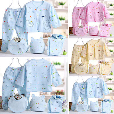 Cotton Newborn Baby Clothes Sets 0-3 Month Boy Girls Sleepwear Pants 5PCS New