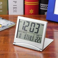 Desk LCD Digital Travel Alarm Clock W/ Thermometer Date Calendar Timer Foldable