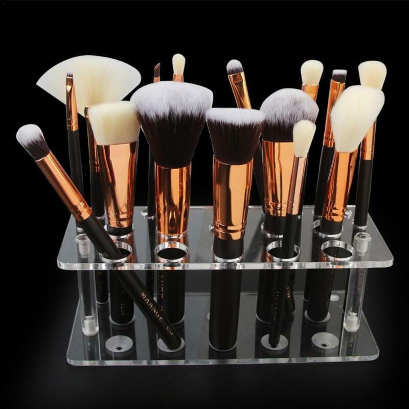 Makeup Brush Holder Transparent Acrylic Cosmetic Storage Stand Organizer Case 8