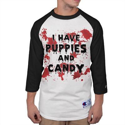 Halloween I Have Puppies Candy Blood Splatter Mens Long Sleeve Raglan T Shirt