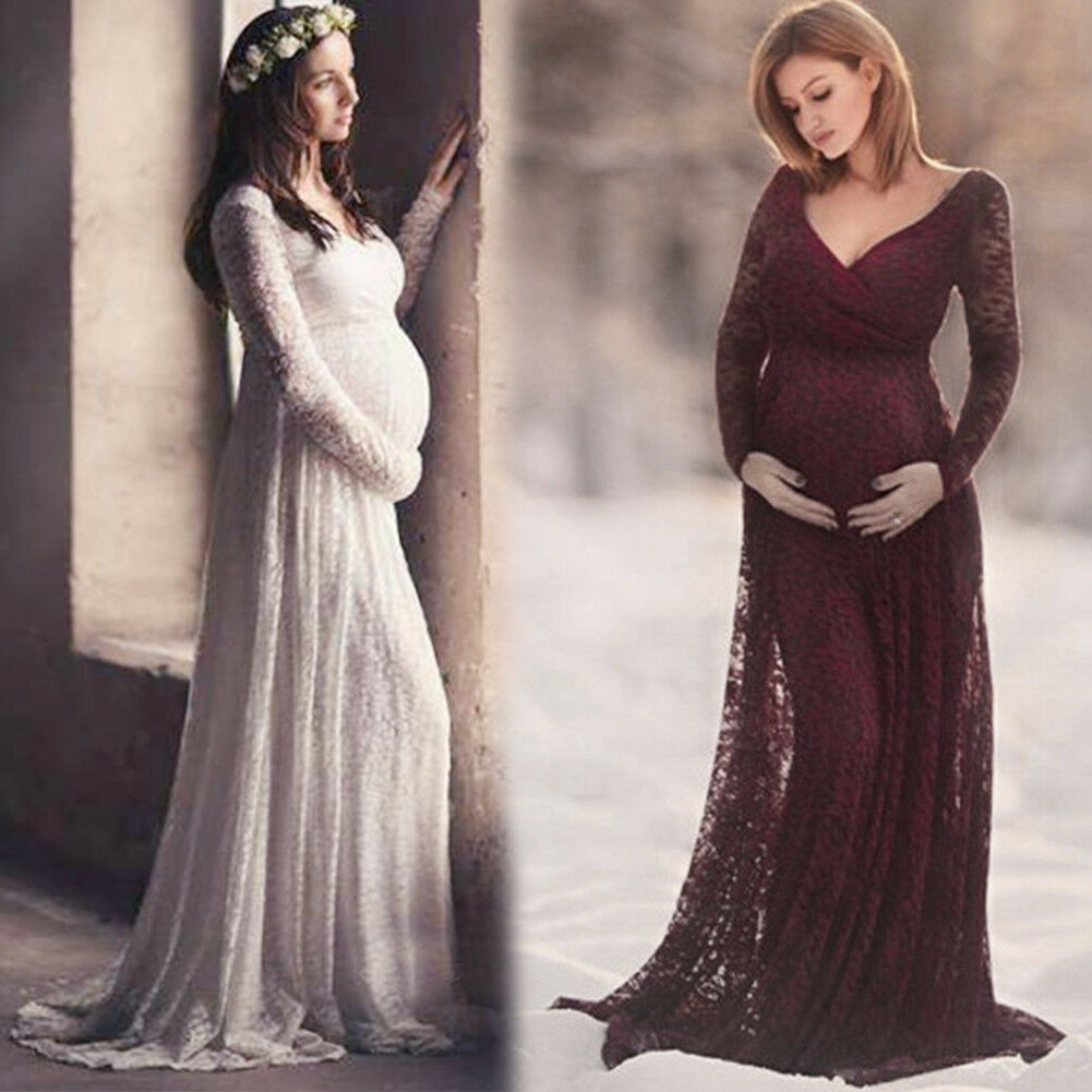7f1aad525c1d0 Details about Pregnant Women Lace Long Maxi Wrap Dress Maternity Evening  Gown Photography Prop