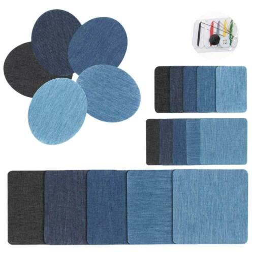 20Pcs Iron On Denim Fabric Mending Patches Repair Kit Assort