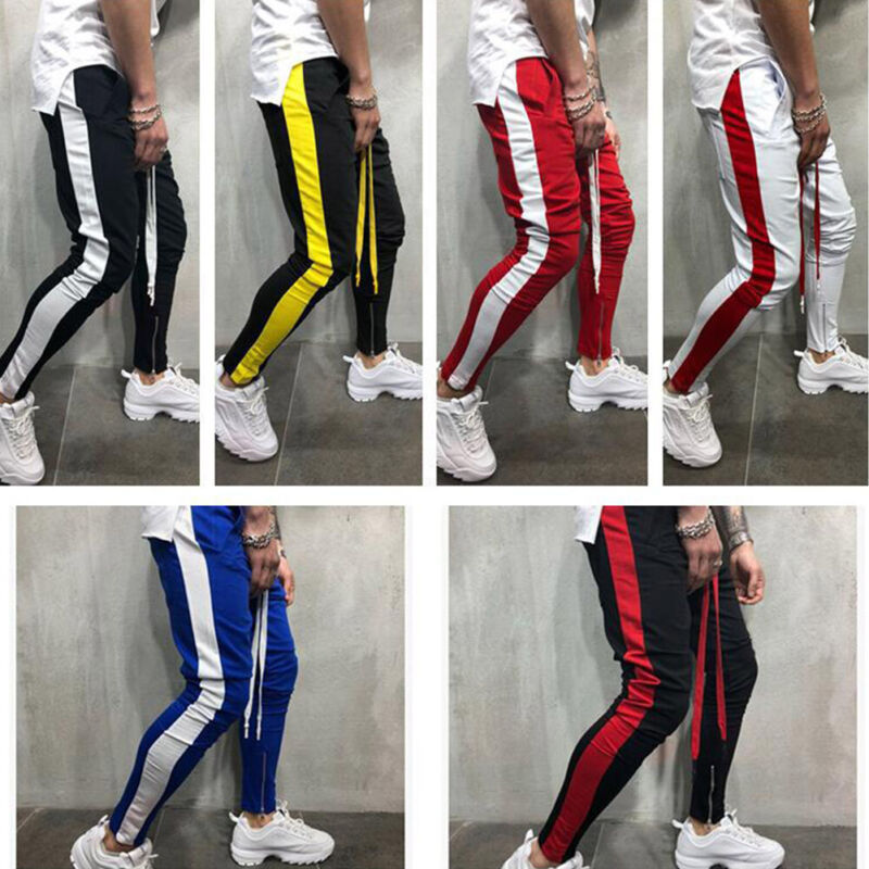 Mens Gym Slim Fit Trousers Tracksuit Bottoms Skinny Joggers Sweat Track Pants❥(^