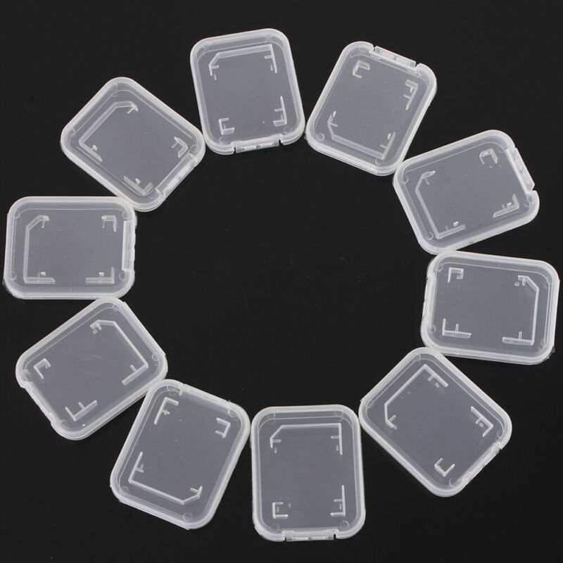 10 pcs SD Card Protect Plastic Case Holder,Jewel Cases, SDHC,SDXC Card Case NEW