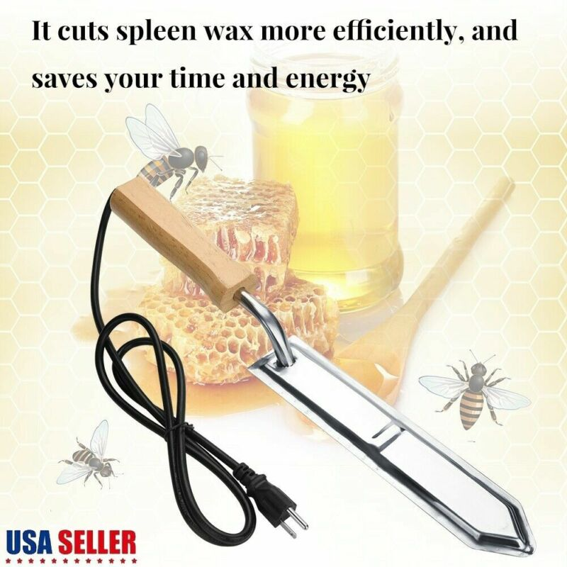 Electric Stainless Steel Extractor Uncapping Knife Bee Hive Honey Scraper 110V
